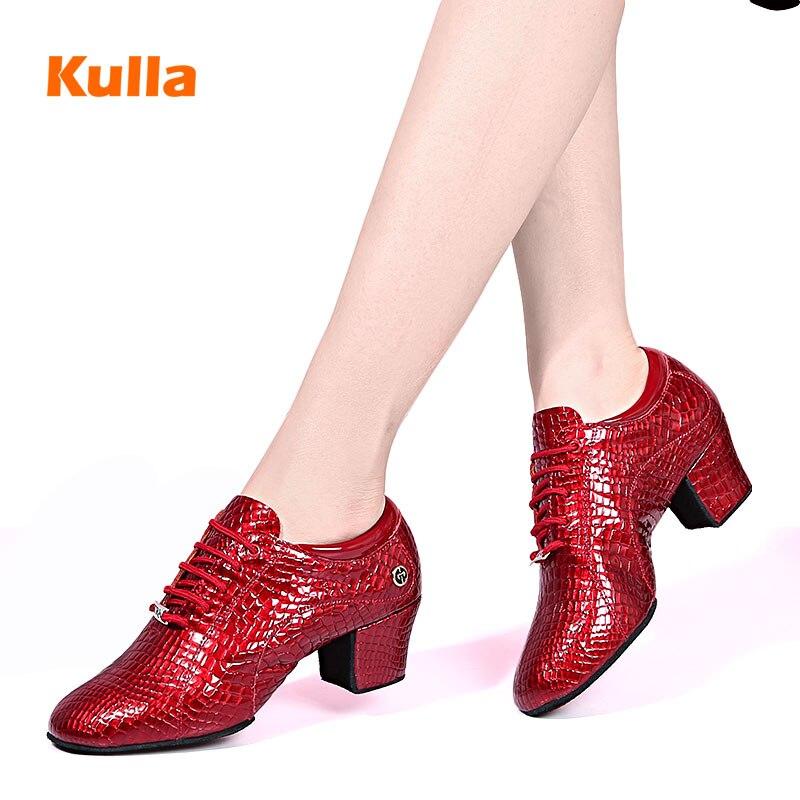 Chaussures de danse modernes en cuir véritable pour femmes motif Crocodile à semelle souple pour enseignants
