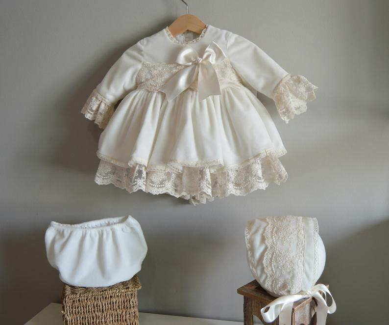 3PCS 0 12Y White Velvet Autumn Winter Baby Girl Vintage Spanish Dress Pompom Princess Dress Lolita
