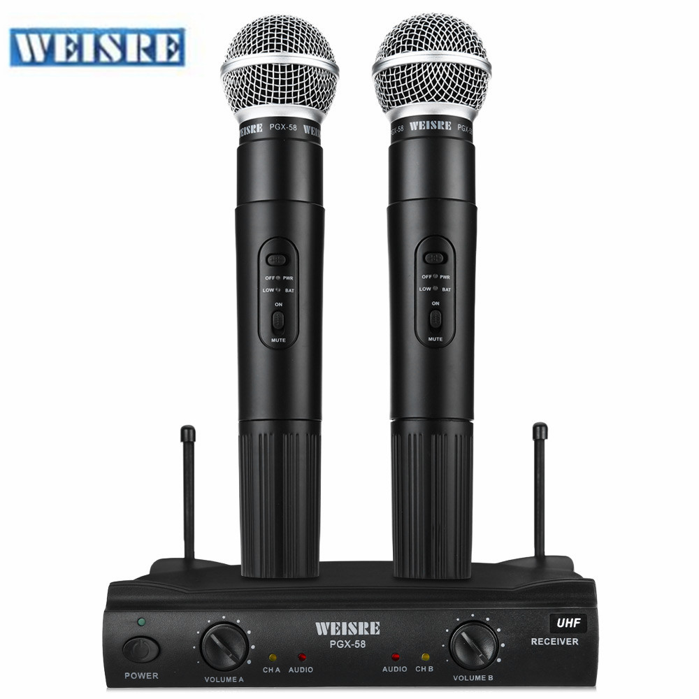 professional weisre pgx58 uhf wireless microphone mic system dual handheld 2 x mic cordless. Black Bedroom Furniture Sets. Home Design Ideas