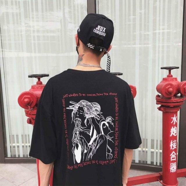049fe8b03 € 10.07 30% de DESCUENTO|Mujeres Casual japonés Harajuku camiseta Geisha  estampado moda Punk oscuro holgado hechizo encanto amantes parejas ...