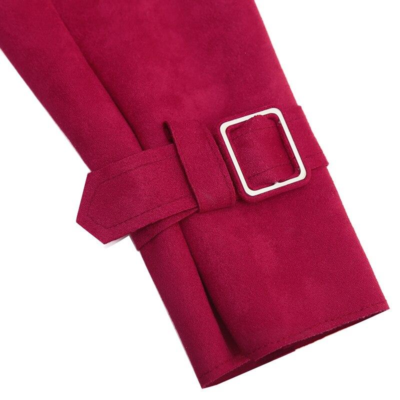 Manteau E38 Femmes Red armygreen Manteaux Mode Survêtement Tnlnzhyn 2019 Revers Printemps Automne Nouvelle gray Femme Tranchée Daim Moyen Long qawtXZTx