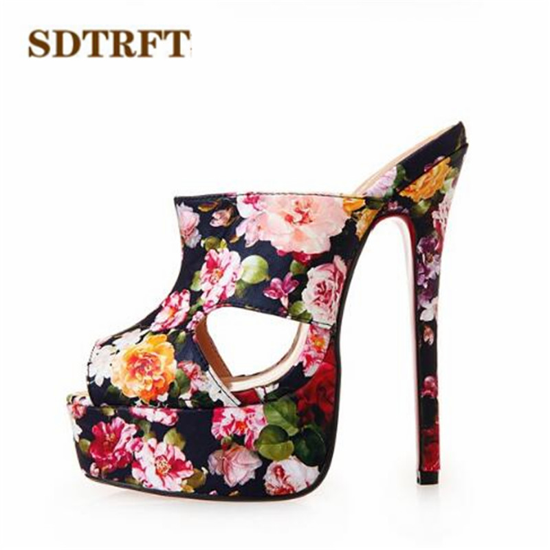 SDTRFT PLUS:40-43 44 45 46 Summer slides Open Toe Sandals 16cm thin High-heeled female Shoes woman Slingbacks pumps zapatos sdtrft sexy cosplay party shoe woman 12cm thin high heeled pointed toe ankle boots lace up ladies wedding pumps plus 40 46 47 48