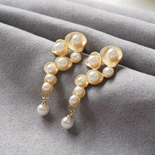 Senhoras Retro Do Vintage de luxo Extravagante do casamento eterno elegância Clássica Suave brisa tribunal Brinco de Pérola Brincos de Noiva LING
