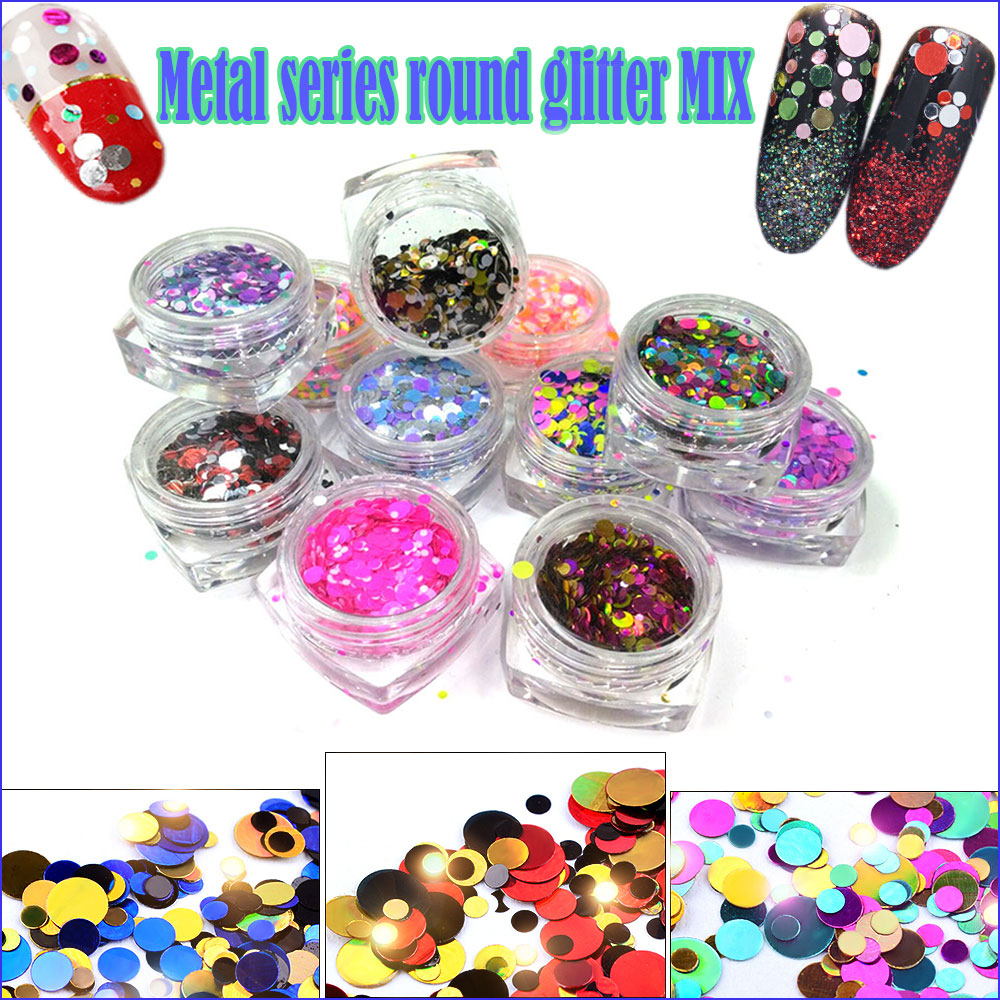 12 Jars Neon Mixed Colors Round Dot Glitter Paillette Spangle Shape for Nail Art Glitter Craft Decoration and Makeup 1mm 2mm 3mm in Nail Glitter from Beauty Health