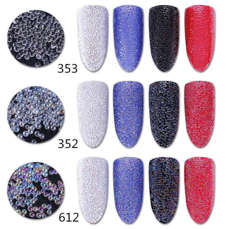 1 Caixa Transparente Branco Miçangas Caviar Manicure Nail Art Decoração 3D DIY Glitter Bead #352 #353 #612