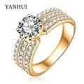 YANHUI Luxury Brand original 70% Gold Ring Set Round CZ Diamond Engagement Wedding Rings Jewelry For Women YCRI0012