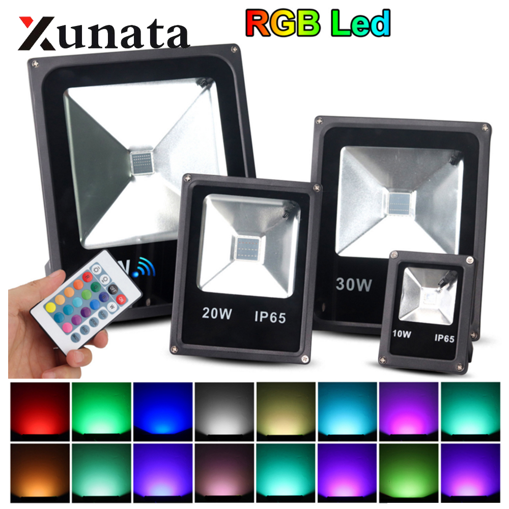 RGB Led Floodlight 20W 30W 50W  Outdoor Waterproof Spotlight Searchlight Stage Projection Light Professional Lamp With Remote