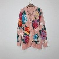 KENVY/модный брендовый женский роскошный зимний свитер в стиле ретро с v образным вырезом из мохера и цветочным узором