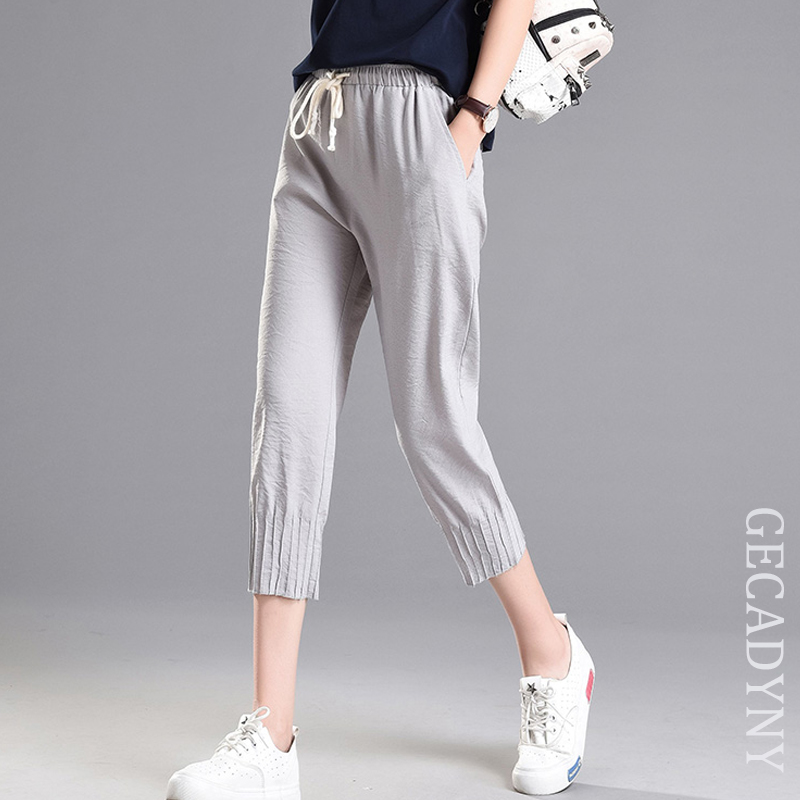 Large Size 2019 Summer Ice Silk Linen   Pants   Loose Women Harem   Pants     Capris   Ladies Mid Waist Elastic   Pants   Capri Female Trousers