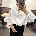 2017 Spring Women Top Solid White Lantern Sleeve Casual Women's Shirt Tops Kimono Sexy Hollow Out Bow Collar Cute Female Blouse