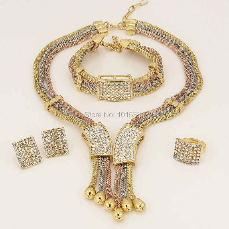 New Year Sales~  Three Tone Charms Choker Dubai Elegant Women Gifts Necklace Bracelet Earring Ring Sets Crystal Jewelry Sets