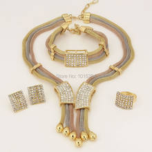 New Year Sales~ Three Tone Charms Choker Dubai Elegant Women Gifts Necklace Bracelet Earring Ring Sets Crystal Jewelry Sets(China)
