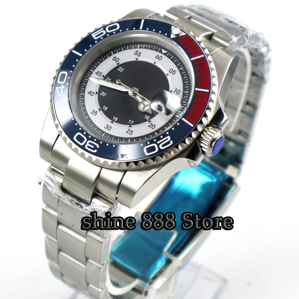 40mm sterile black dial blue ceramic bezel sapphire miyota automatic mens watch