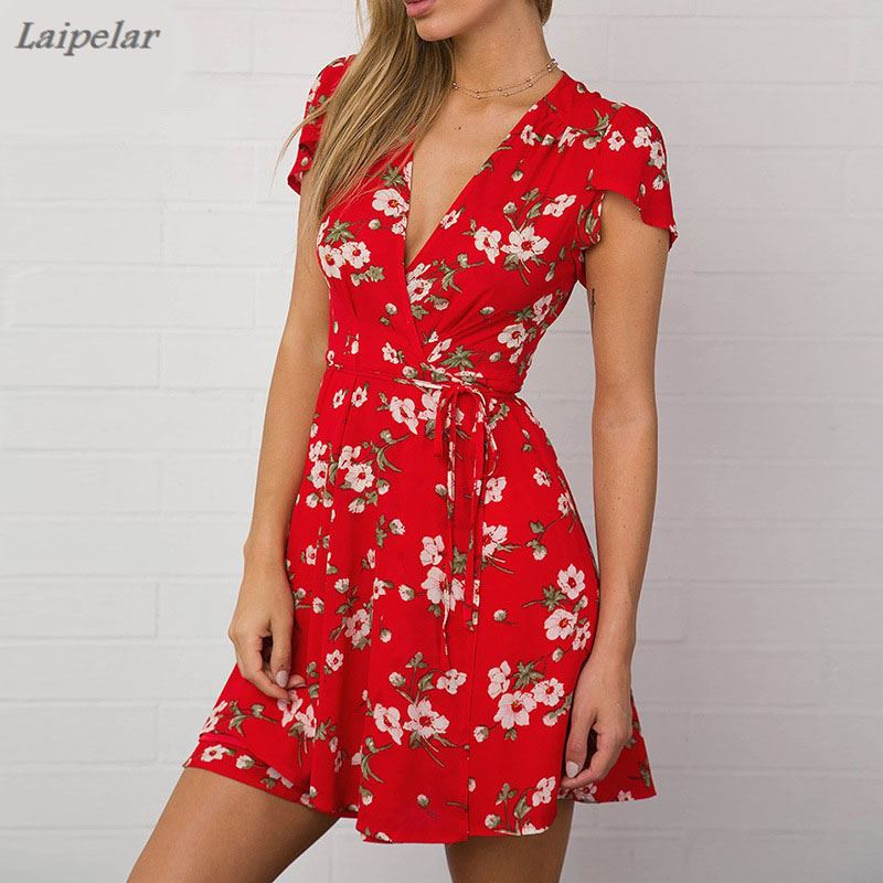 Laipelar Women <font><b>Sexy</b></font> <font><b>V</b></font> Neck <font><b>Short</b></font> Sleeve Mini <font><b>Dress</b></font> 2018 <font><b>Floral</b></font> <font><b>Print</b></font> <font><b>Boho</b></font> Summer <font><b>Dresses</b></font> Femme Casual <font><b>Beach</b></font> <font><b>Short</b></font> <font><b>Dress</b></font> vestido image