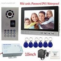 SUNFLOWERVDP Rfid Home Video Door Phone IP65 Waterproof Video Doorman Color 10 Intercom Camera Video Doorbell