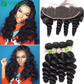 Lace Frontal Closure With Bundles Loose Wave Brazilian Virgin Hair 3/4 Bundles With Ear To Ear Frontal Loose Wave With Frontal
