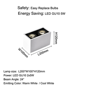 Image 5 - Led シーリングライトダブルスポット led ランプ交換可能な GU10 5 ワット led 電球マウント天井光ランプの装飾照明ホーム