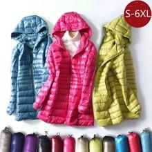 S~6XL Autumn Winter Women White Duck Down Jacket Slim Parkas Ladies Coat Long Hooded Plus Size Ultra Light Down Outerwear RH1056