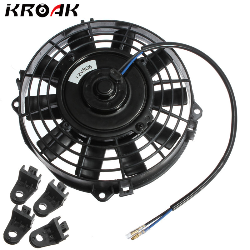 Universal 12V 80W 7 Inch Slim Reversible Electric Radiator Cooling AUTO FAN Push Pull With Mounting KitUniversal 12V 80W 7 Inch Slim Reversible Electric Radiator Cooling AUTO FAN Push Pull With Mounting Kit