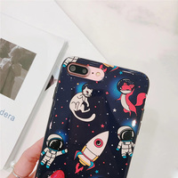 B&E Space Astronaut for iPhone 7 case silicone 8Plus cover cute Originality for iPhone 6sPlus case glossy High-quality lovers