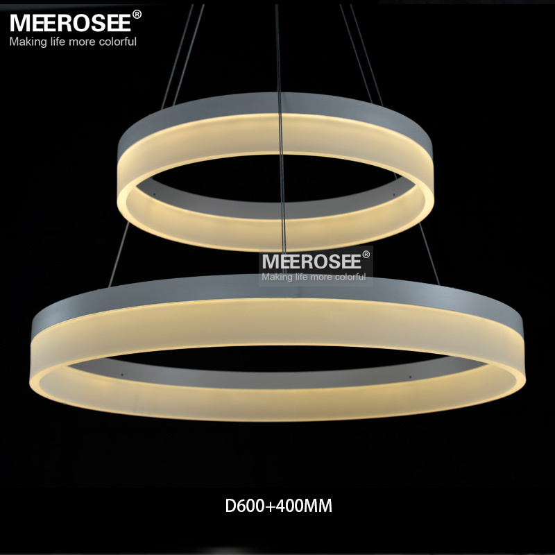 Whole High Quality Led Pendant Ring Light Modern Fixture White Acrylic Circle Suspension Lamp Md5060 In Lights From
