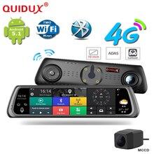Quidux Android 5.1 Видеорегистраторы для автомобилей 4 г WCDMA 10 дюймов touch Зеркало заднего вида DVRs Двойной объектив GPS навигации регистраторы видео Регистраторы dashcam