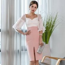 Elegant Party Dress Women Slit Chiffon Contrast Color Slim Workwear Ladies Formal Office Midi Vestidos