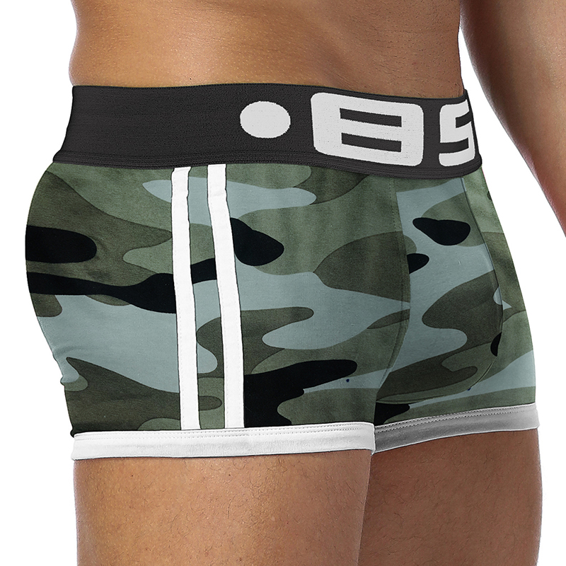 BS Brand Men underwear boxers cueca male panties sexy shorts Men Camouflage Soft Underpants Knickers Shorts men trunks BS144