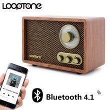 LoopTone, Radio de sobremesa AM/FM Bluetooth, Radio Clásica Retro con altavoz incorporado, Control de agudos y bajos, hecho a mano, madera