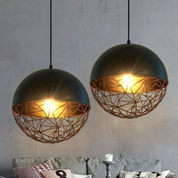 Loft Suspension Luminaire Vintage Round Iron Pendant Lamp Creative personality Edison Bulb Light Fixture Bar Cafe Pendant Lights