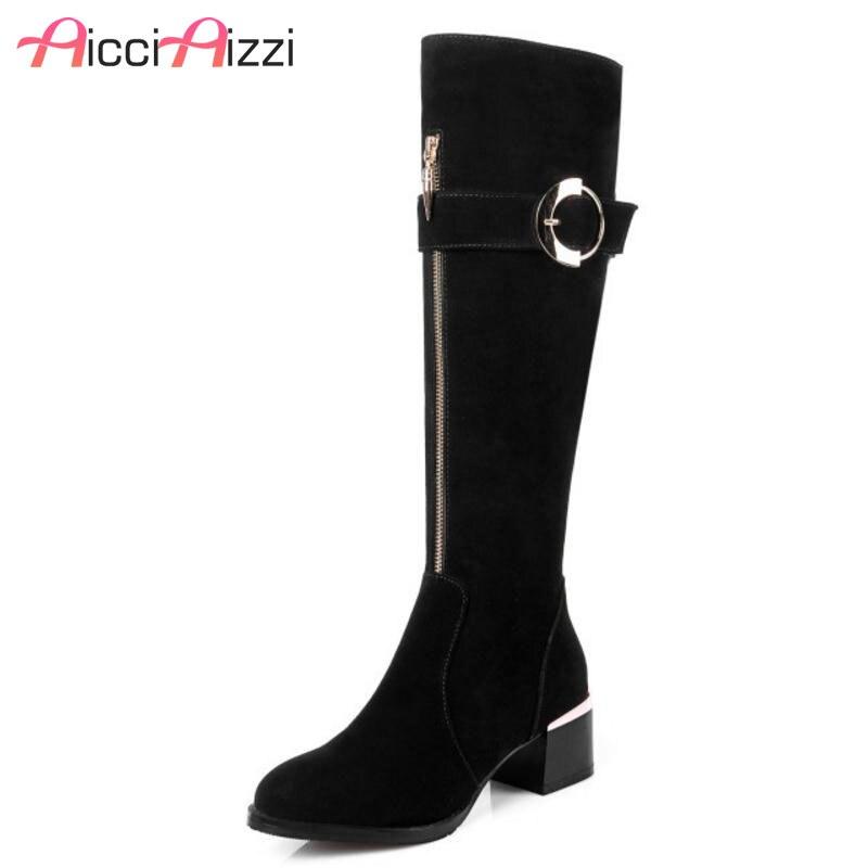 AicciAizzi Women Genuine Leather Zipper High Heel Boots Zipper Buckle Warm Shoes In Winter Botas Warm Women Footwears Size 34-39AicciAizzi Women Genuine Leather Zipper High Heel Boots Zipper Buckle Warm Shoes In Winter Botas Warm Women Footwears Size 34-39