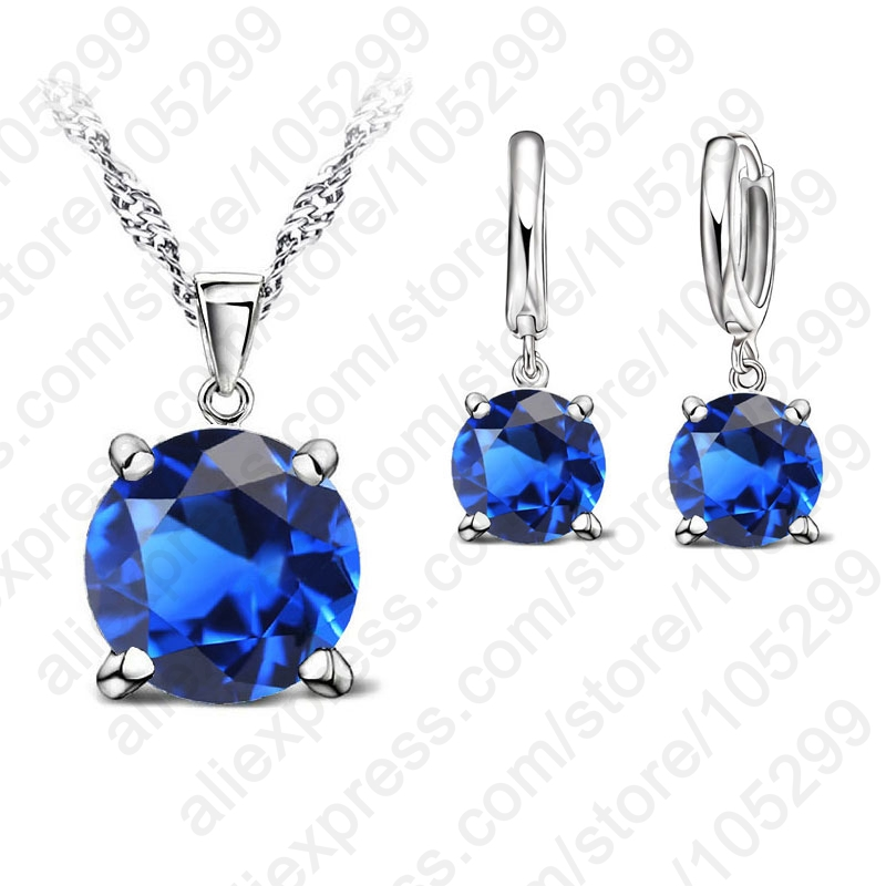 JEXXI Selling 925 Sterling Silver Jewelry Sets 4 Claws Cubic Zirconia CZ Pendant Necklace Earring Fashion