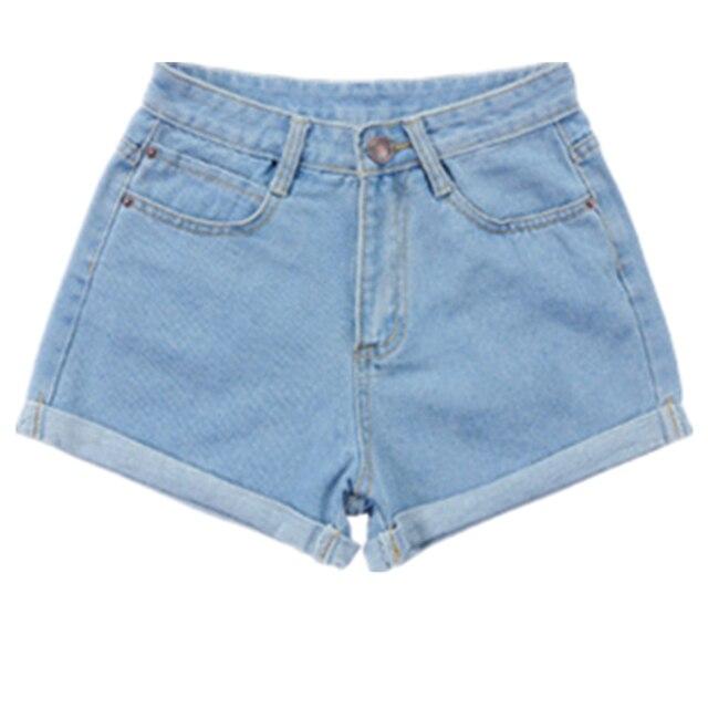 Spring and Summer Retro high waist Women denim shorts Blue loose short female thin curling fashion lager size short jeans women