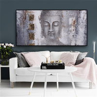 Abstract Zen Religion Buddha face Oil Painting on Canvas Posters and Print Cuadros Wall Art Pictures For Living Room