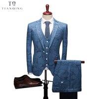 TianQiong Новое поступление мужской костюм деловой строгий вечерние костюмы жаккардовый костюм жениха Синий Серый Свадебный костюм для мужчин