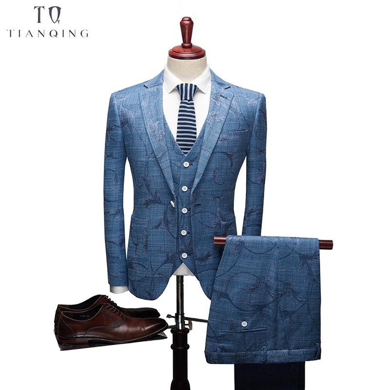 TianQiong New Arrival Men Suit Business Formal Party Suit Jacquard Groom Suit Blue Grey Wedding Suit For Men 3Pcs Set
