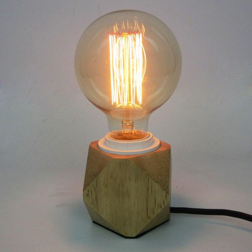 ФОТО Nordic Modern Creative Wooden Table Light,Diamond Shape Solid Wood Base Table Lamp E27 mini Desk Lamp for home lighting