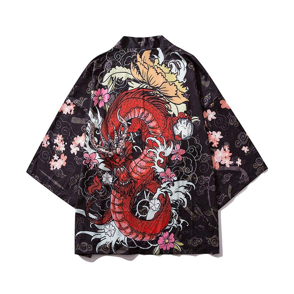 בסגנון סיני קימונו גברים חולצה חצי שרוול מקרית Streetwear גברים קיץ חולצה פרחוני הדפסת קימונו חולצה 2019 camisa masculina