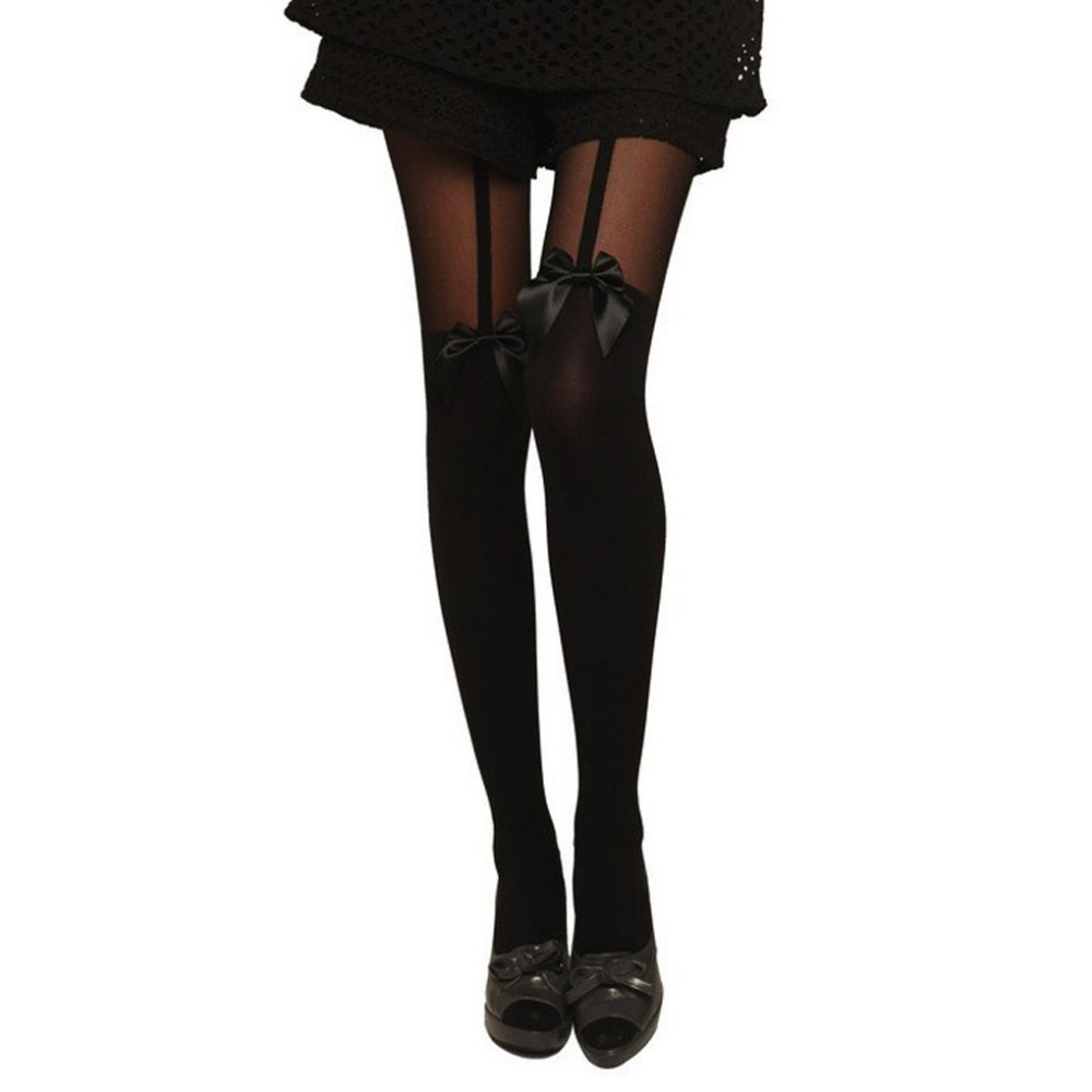Black Pantyhose Tights Women Garter Belt Bow Sexy Lace Pantyhose Suspend Sheer Stockings Hosiery Collant Femme