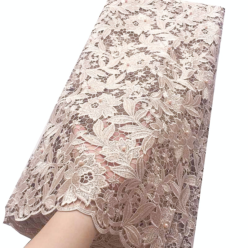 Beaded Swiss Cord Lace Fabric High Quality White Nigerian Lace Fabrics For Wedding Latest African Baby Pink Lace Fabric 2018-in Lace from Home & Garden    2