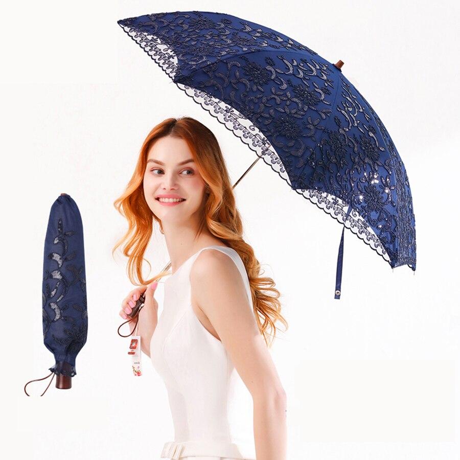 Luxe UV Protection parapluie mariage dentelle Portable filles soleil parapluie femmes pliant extérieur Modis petit Parasol léger 40YS104