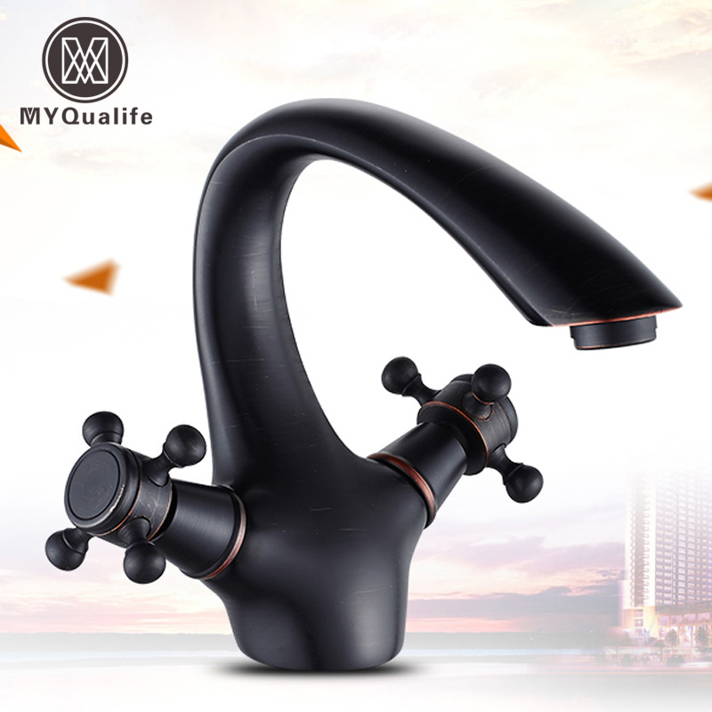 Free Shipping Retro Style Curve Neck Bathroom Sink Mixer Faucet Dual Handle Washing Basin Taps Oil Rubbed Bronze ceramic stage wash basin sanitary ware art bathroom basin retro style palace fish free shipping