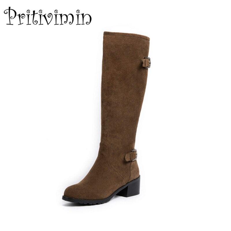 2018 Ladies winter warm lined boots women botas mujer shoes cow suede black brown Kitten Heels antiskid boots pritivimin FN110