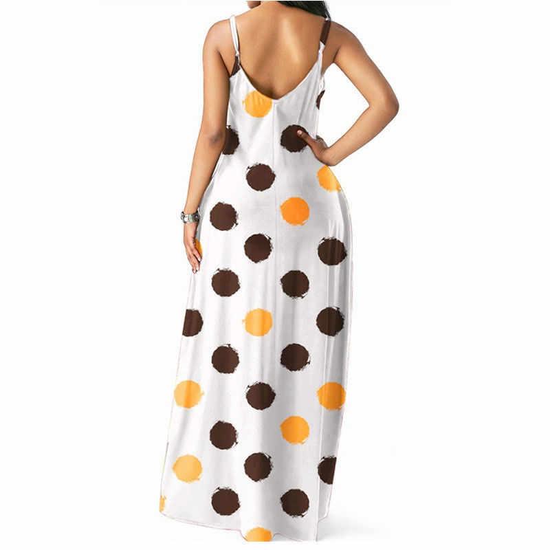 Женские летние платья в разноцветный горошек с v-образным вырезом, женские платья на бретельках без рукавов, длинное пляжное платье макси, вечерние платья на каждый день, праздничное платье