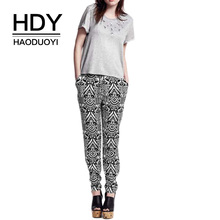 HDY Haoduoyi  Geo-Tribal Basic Pants Ladies Casual Loose Elastic Waist Trousers Female Fashion Two Side Pocket Women Pants