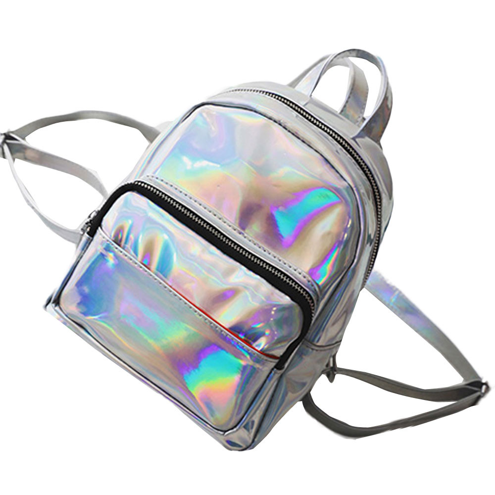 Women Leather Backpacks Schoolbags Travel Shoulder Bag Laser Woman Back Pack Girls Backpack Rucksack Holographic Bag ...