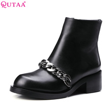 QUTAA Genuine leather Women Shoes Black Chain Zipper Square High Heel Round Toe Ankle Boots Women Motorcycle Boot Size 34-39