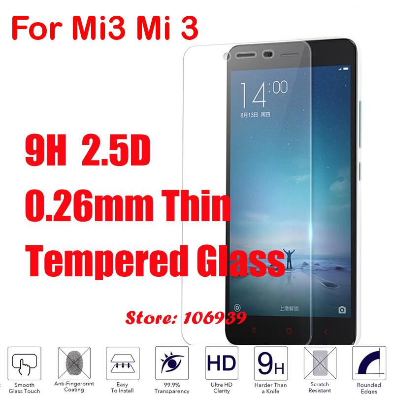 9H Hardness 2.5D 0.26mm Phone Cell LCD Display Accessories Tempered Temper Glass Cristal Verre For Xiaomi Mi3 Mi 3