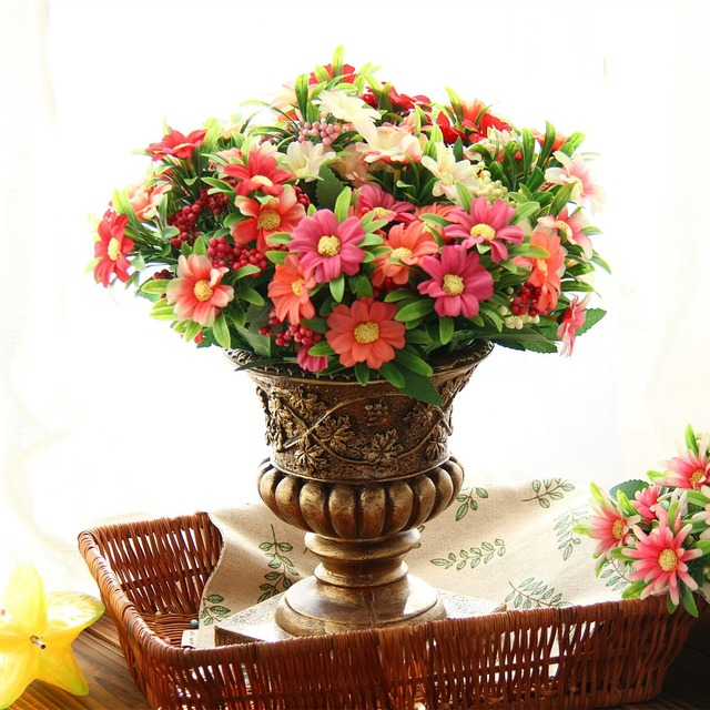 Autumn Colorful Silk Daisy Artificial Flower For Wedding Table Home