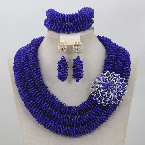 Trendy Royal Blue Nigerian Bridesmaid Crystal Necklace Set Wedding&Events Lady African Beads Jewelry Set Free Shipping QW683 цена и фото